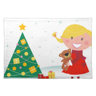 Cute little xmas girl red placemat