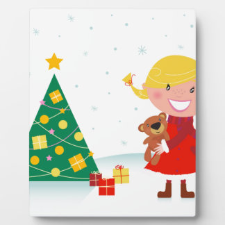Cute little xmas girl red plaque