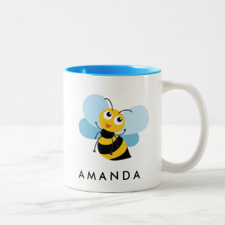 Cute Little YELLOW BEE Personalized Two-Tone Coffee Mug