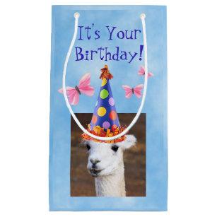 Cute Llama And Butterflies Birthday Small Gift Bag