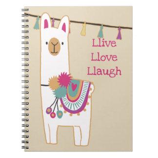 Cute llama and tassels w/custom background spiral notebook