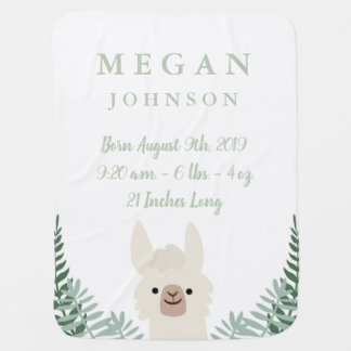 Cute Llama Birth Announcement Baby Blanket