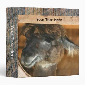 Cute Llama Farm Animal Vinyl Binder