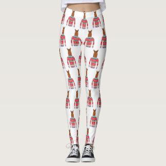 Cute Llama wearing Funny Ugly Christmas Sweater Leggings