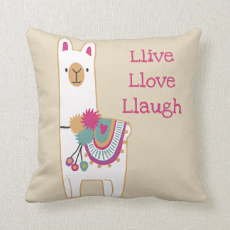 Cute llama with custom background color throw pillow