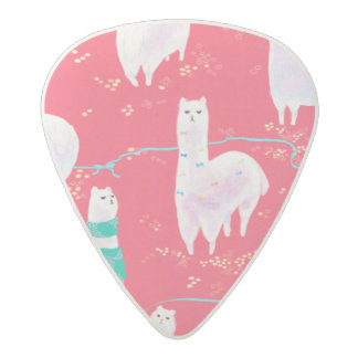 Cute llamas Peru illustration red background Acetal Guitar Pick