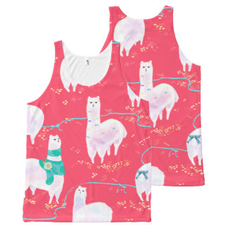 Cute llamas Peru illustration red background All-Over-Print Tank Top