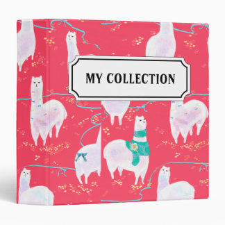 Cute llamas Peru illustration red background Binders