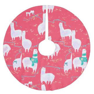 Cute llamas Peru illustration red background Brushed Polyester Tree Skirt