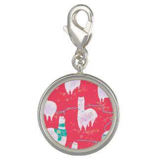 Cute llamas Peru illustration red background Charm