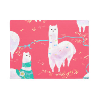 Cute llamas Peru illustration red background Doormat
