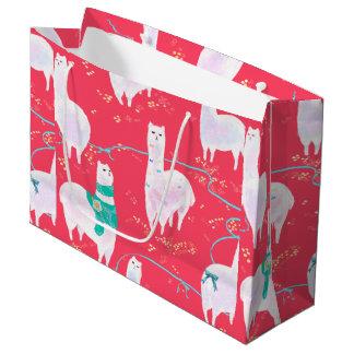 Cute llamas Peru illustration red background Large Gift Bag