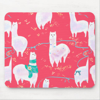 Cute llamas Peru illustration red background Mouse Pad