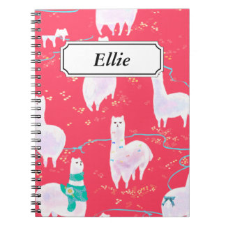 Cute llamas Peru illustration red background Notebooks