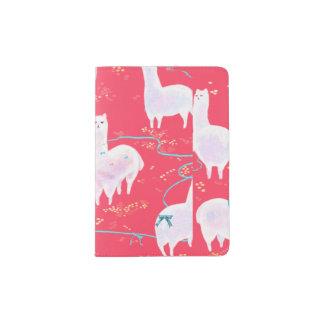 Cute llamas Peru illustration red background Passport Holder