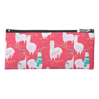 Cute llamas Peru illustration red background Pencil Case