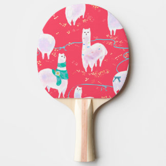 Cute llamas Peru illustration red background Ping Pong Paddle
