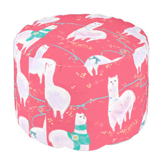 Cute llamas Peru illustration red background Pouf