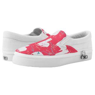 Cute llamas Peru illustration red background Slip-On Sneakers