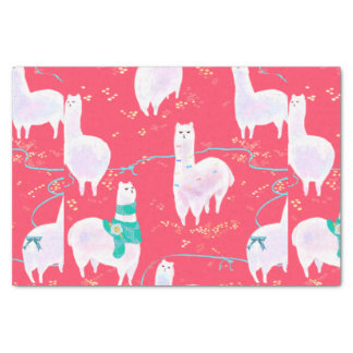 Cute llamas Peru illustration red background Tissue Paper