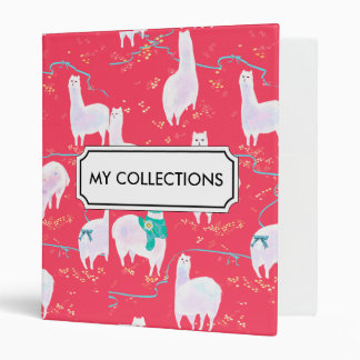 Cute llamas Peru illustration red background Vinyl Binder