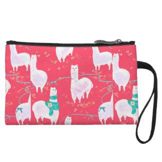 Cute llamas Peru illustration red background Wristlet Clutches