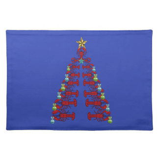 Cute Lobster Nautical place mat Christmas blue