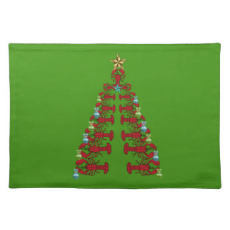 Cute Lobster Nautical place mat Christmas green