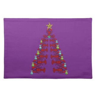 Cute Lobster Nautical place mat Christmas purple