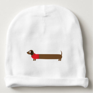 Cute Long Dachshund Illustration Baby Beanie