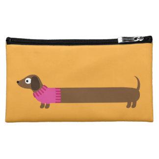 Cute Long Dachshund Illustration Cosmetic Bag
