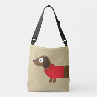 Cute Long Dachshund Illustration Crossbody Bag