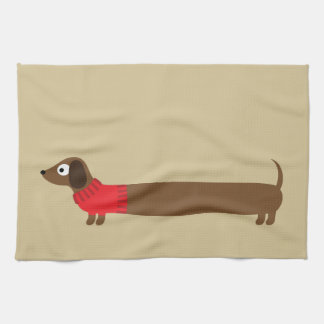 Cute Long Dachshund Illustration Kitchen Towel
