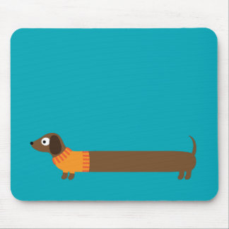 Cute Long Dachshund Illustration Mouse Pad