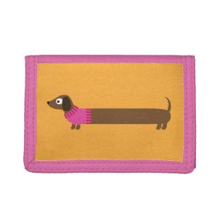 Cute Long Dachshund Illustration Tri-fold Wallets