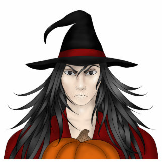 Cute long haired cartoon Halloween wizard Acrylic Cut Outs