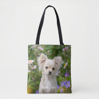 Cute long-haired cream Chihuahua Dog Puppy Shopper Tote Bag