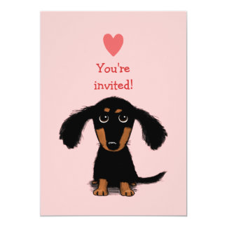 "Cute Long Haired Dachshund Puppy Valentine's Party 5"" X 7"" Invitation Card"
