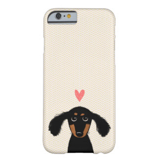 Cute Long Haired Dachshund Puppy with Heart Barely There iPhone 6 Case