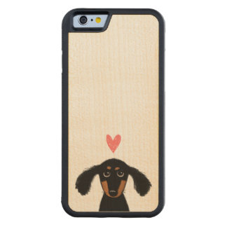 Cute Long Haired Dachshund Puppy with Heart Carved Maple iPhone 6 Bumper Case