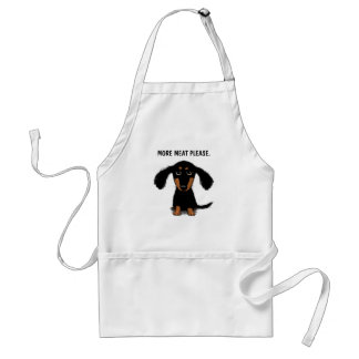 Cute Long Haired Dachshund with Custom Text Apron
