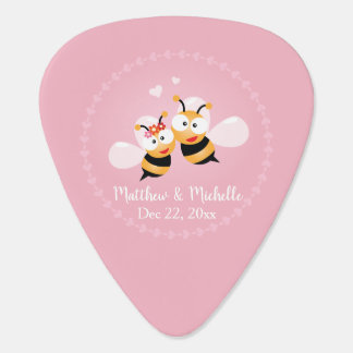 Cute Love Bee Couple Wedding Party Thank You Favor Guitar Pick