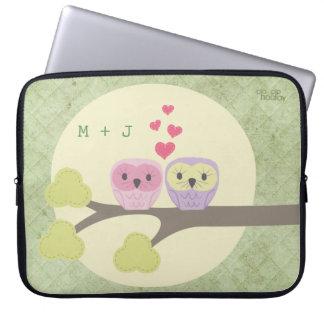 Cute Love Bird Owls Large Laptop Ipad Sleeve Bag