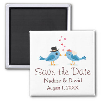 Cute love birds bride and groom save the date magnet