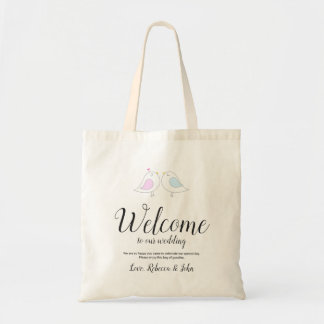 Cute Love Birds | Calligraphy Wedding Welcome Tote Bag