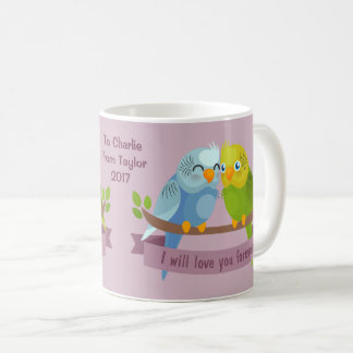 Cute Love Birds custom dedication mugs