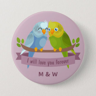 Cute Love Birds custom monogram buttons