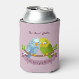 Cute Love Birds custom name can cooler