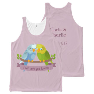 Cute Love Birds custom names & date tank top