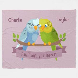 Cute Love Birds custom names fleece blankets
